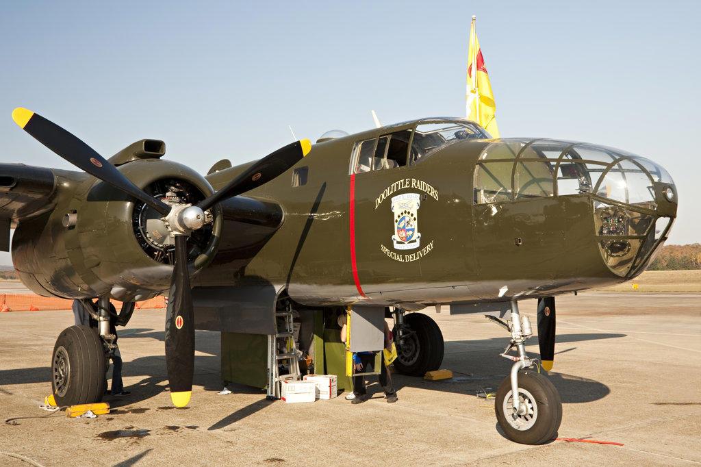 Stock Photo: 4116-271 USA, Arkansas, Little Rock Air Force Base, B-25 Mitchell of Doolittles Raiders
