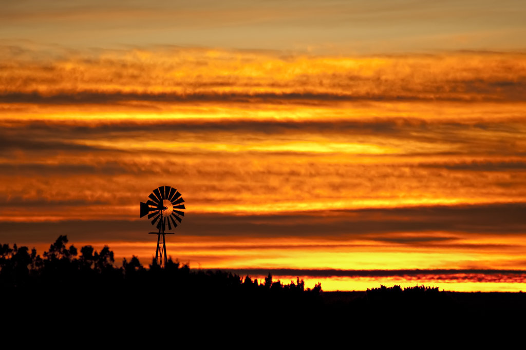 Stock Photo: 4116-296B USA, New Mexico, Silhouette of wind mill against golden sky at dawn
