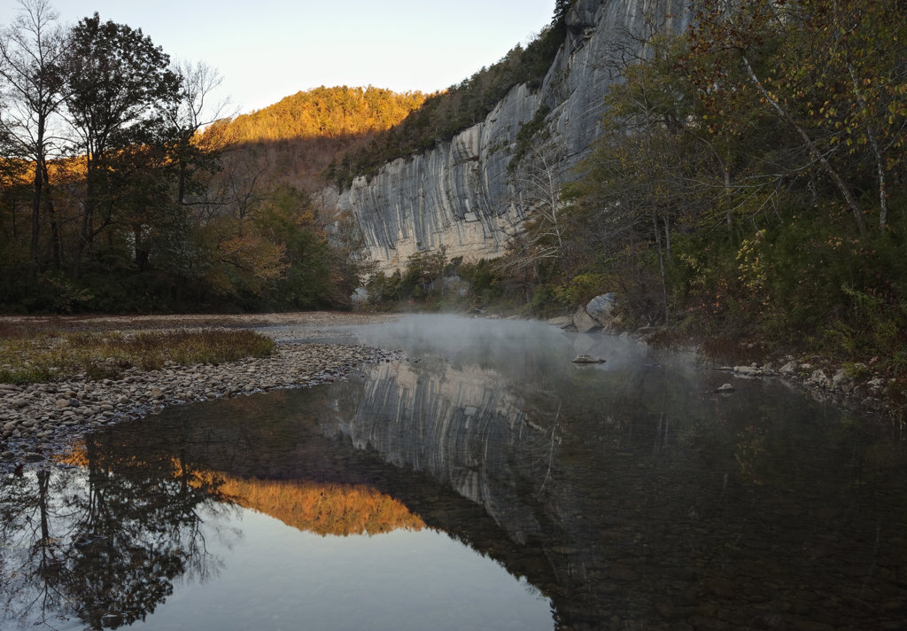 Stock Photo: 4116-300 Reflection of a mountain in the river, Buffalo River, Ozark Mountains, Ozark National Forest, Arkansas, USA