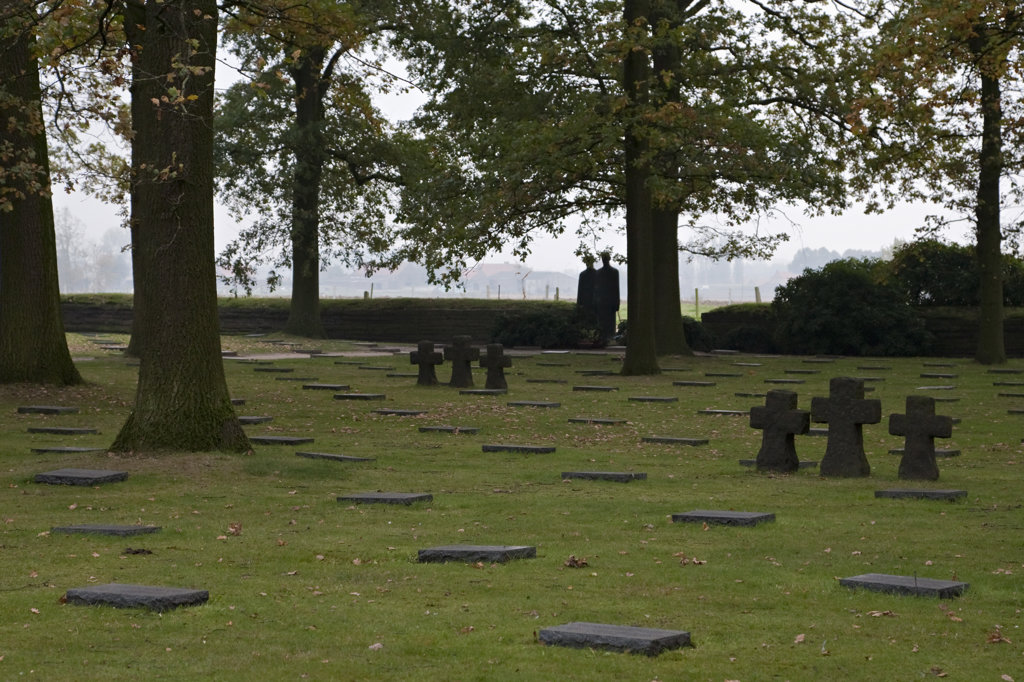 Crosses and graves in a German World War I cemetery, Ypres, Belgium : Stock Photo