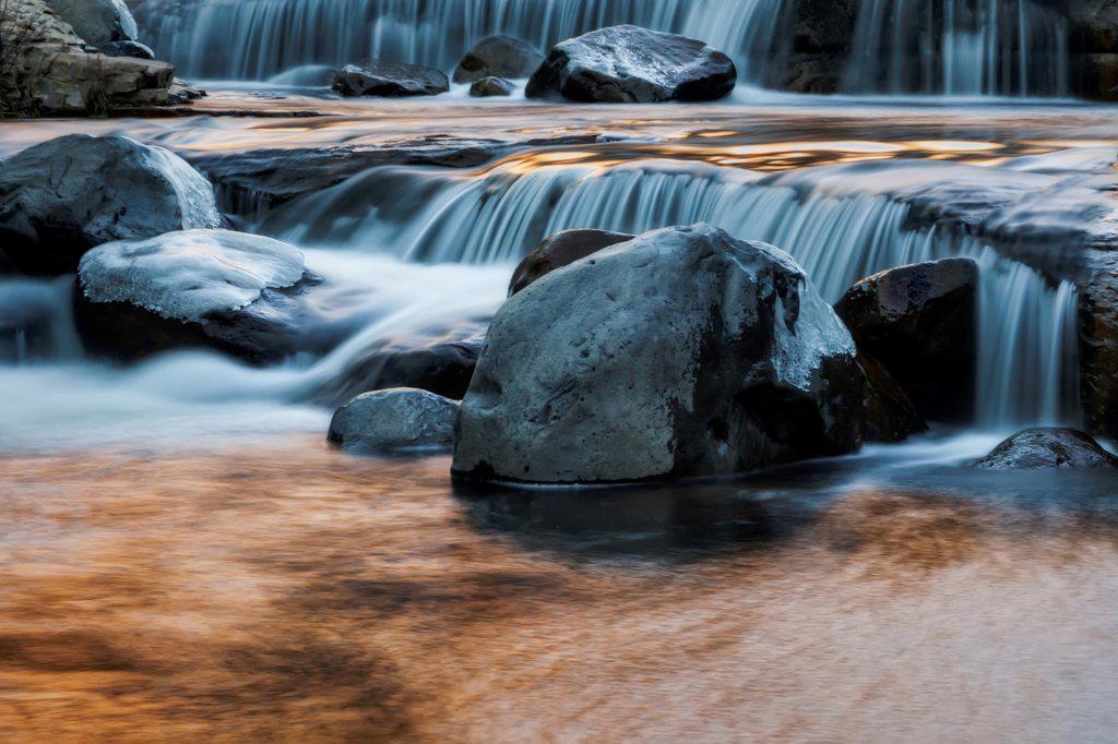 Stock Photo: 4116-411 USA, Arizona, Oak Creek Canyon, Waterfalls and rocks at Slide Rock State Park