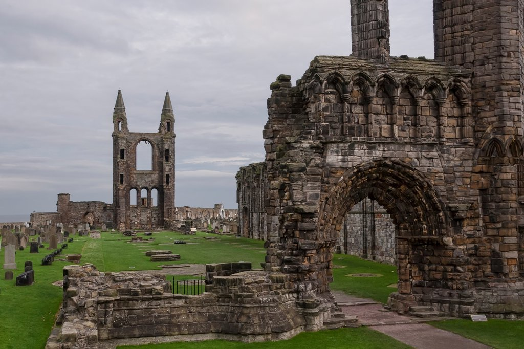 Ruins of a cathedral, St. Andrews Cathedral, St. Andrews, Fife, Scotland : Stock Photo