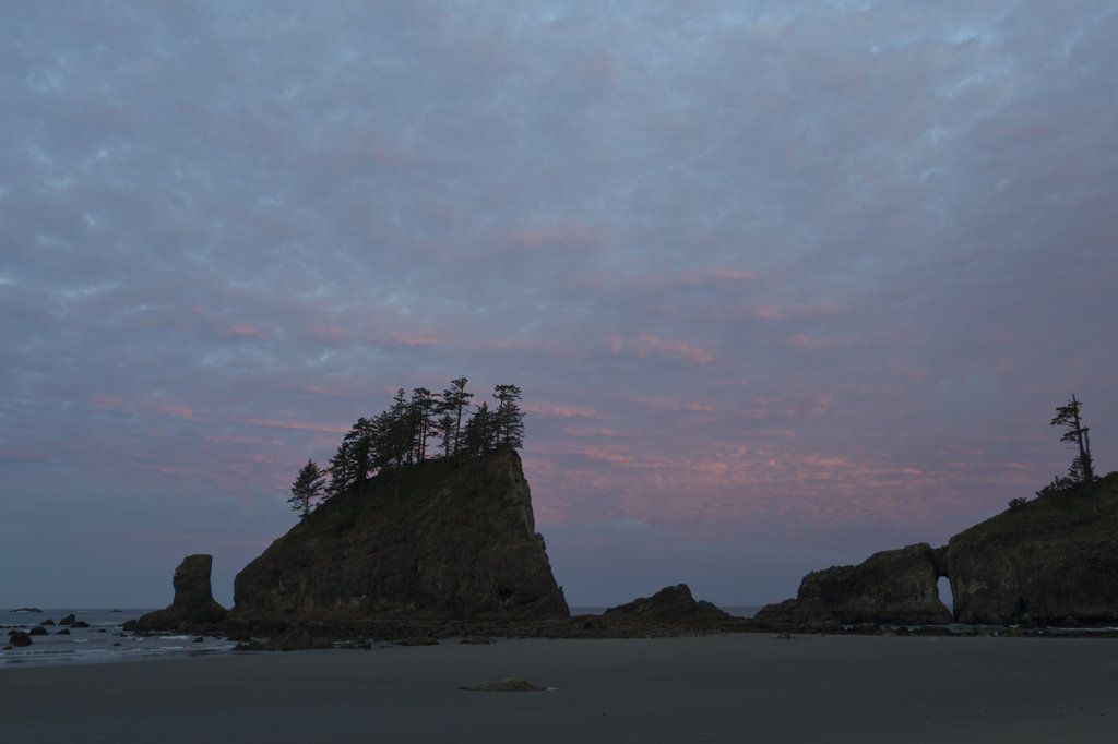 Rock formations in the ocean, Second Beach, Olympic National Park, Washington State, USA : Stock Photo
