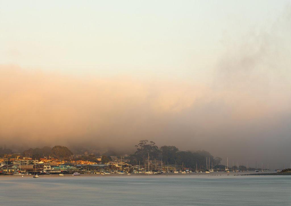 Stock Photo: 4116-535 City at the waterfront, Morro Bay, California, USA
