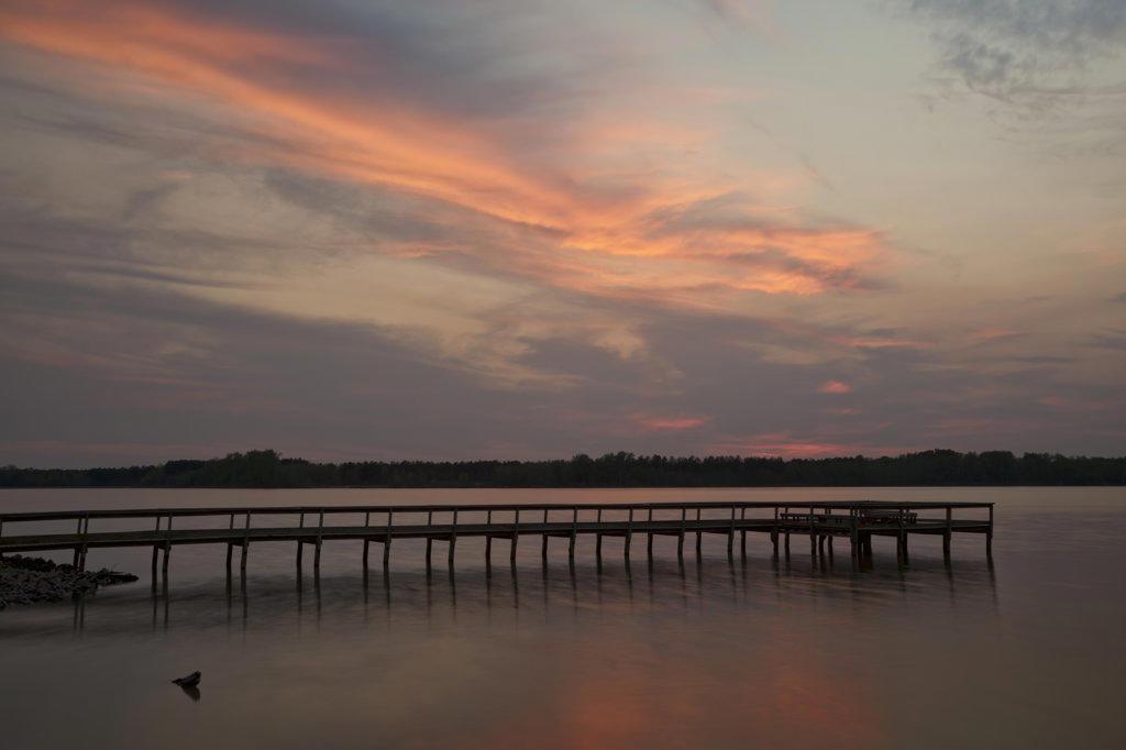 Stock Photo: 4116-553 Pier at dusk, Pickthorne Lake, Arkansas, USA