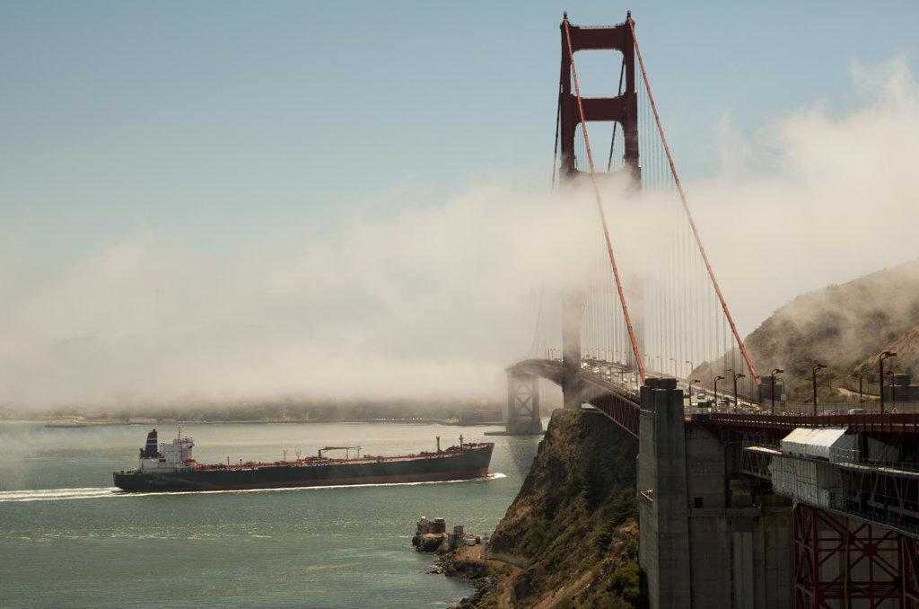 Stock Photo: 4116-602 Container ship passing under the Golden Gate Bridge, San Francisco Bay, San Francisco, California, USA