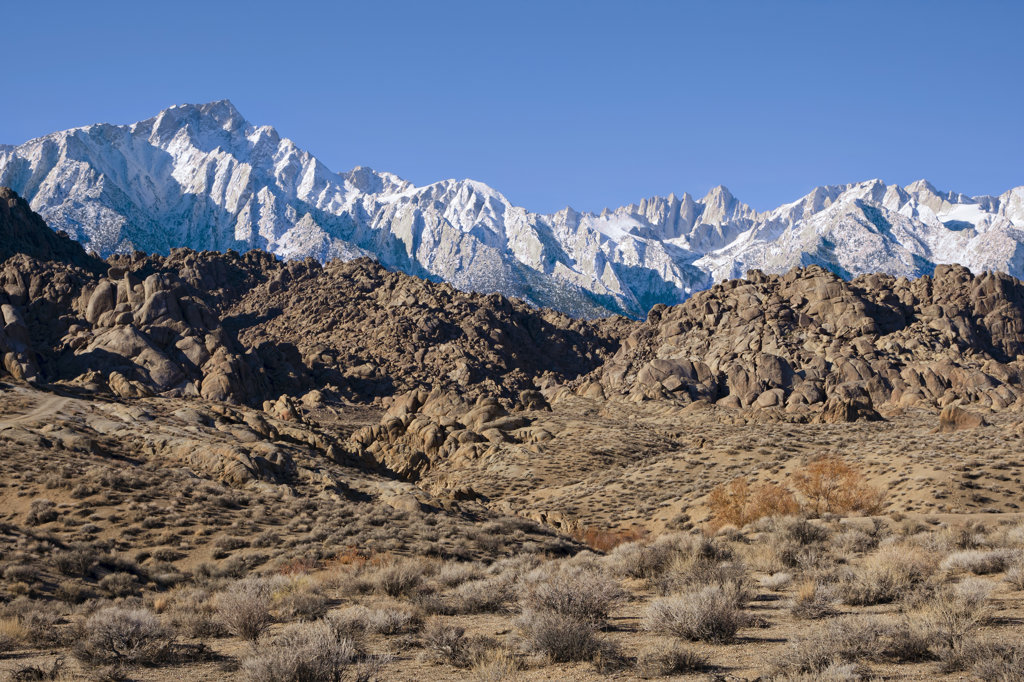 USA, California, Alabama Hills and High Sierra : Stock Photo