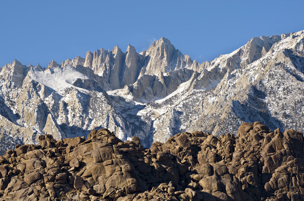 USA, California, Alabama Hills and Mt. Whitney : Stock Photo