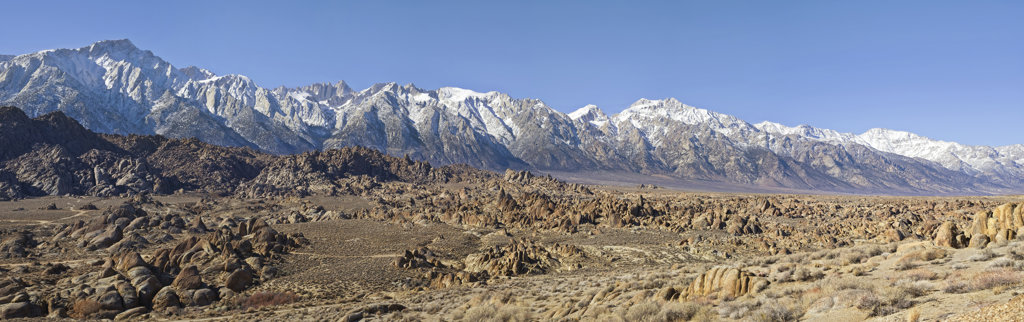 Stock Photo: 4116-630 USA, California, Panorama of Alabama Hills and High Sierra