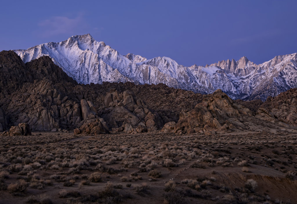 Stock Photo: 4116-631 USA, California, Alabama Hills at dawn