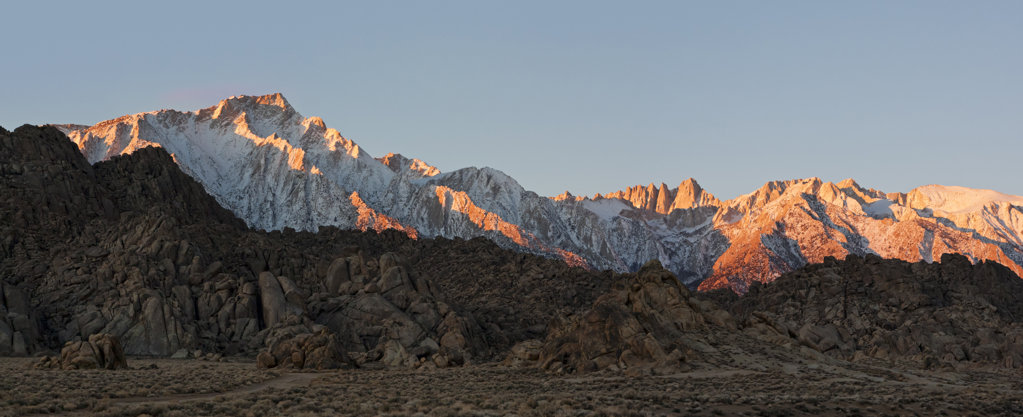 Stock Photo: 4116-632 USA, California, Morning's first light on Mt. Whitney and Lone Pine Peak