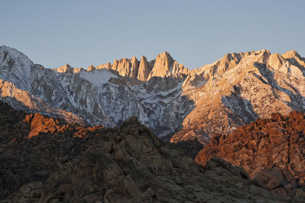 USA, California, Morning's first light on Mt. Whitney : Stock Photo