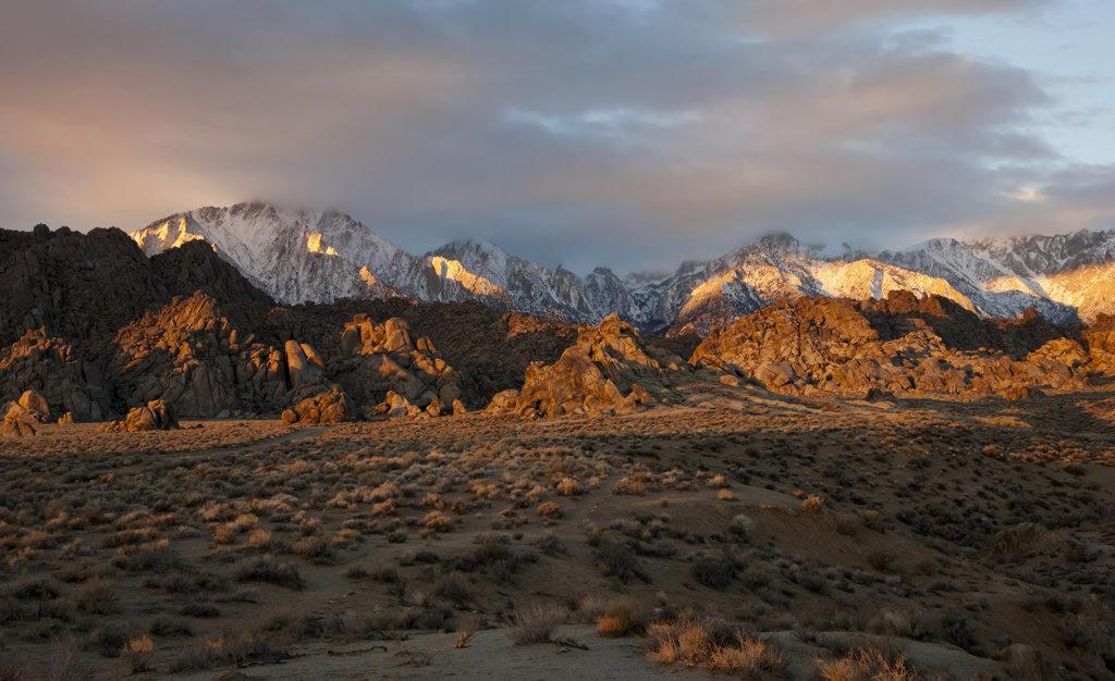 Stock Photo: 4116-650 USA, California, Alabama Hills and High Sierra at Dawn