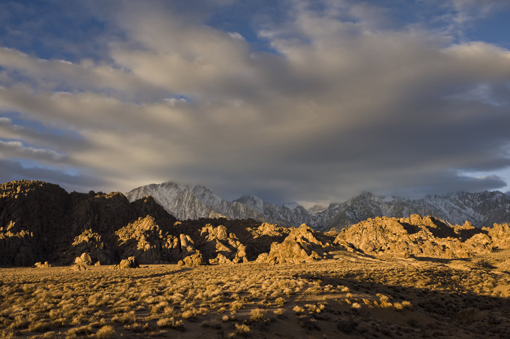 USA, California, Alabama Hills and High Sierra, morning light and clouds : Stock Photo