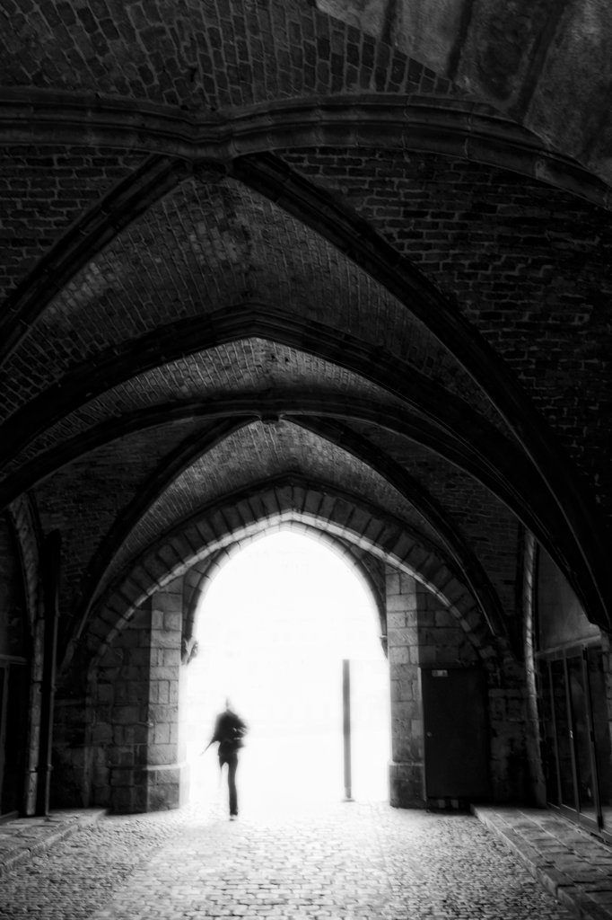 Interiors of an archway, Cloth Hall, Ypres, West Flanders, Flemish Region, Belgium : Stock Photo