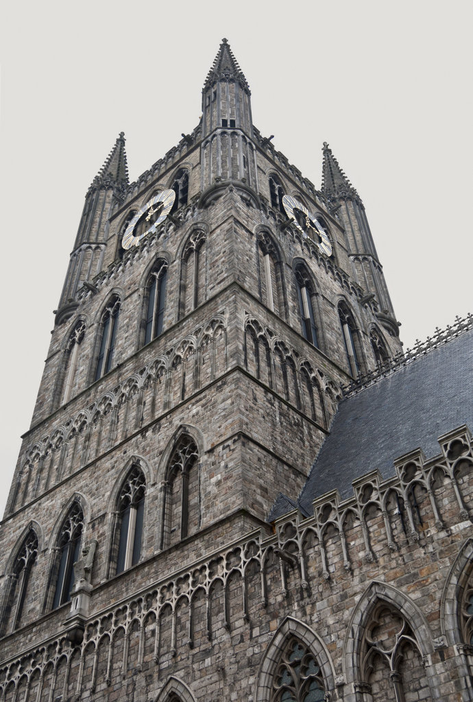Low angle view of a clock tower, Cloth Hall, Ypres, West Flanders, Flemish Region, Belgium : Stock Photo