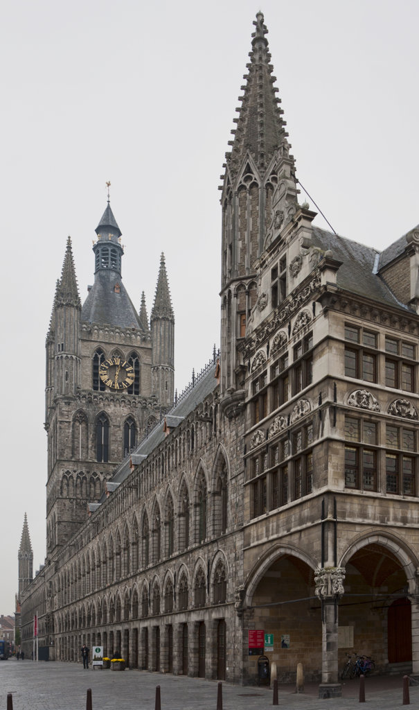 Stock Photo: 4116-756 Building in a city, Cloth Hall, Ypres, West Flanders, Flemish Region, Belgium