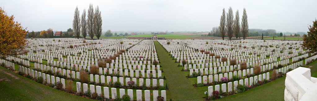 Stock Photo: 4116-760 Tombstones in a cemetery, Tyne Cot Commonwealth War Graves Cemetery, Passendale, Zonnebeke, West Flanders, Flemish Region, Belgium