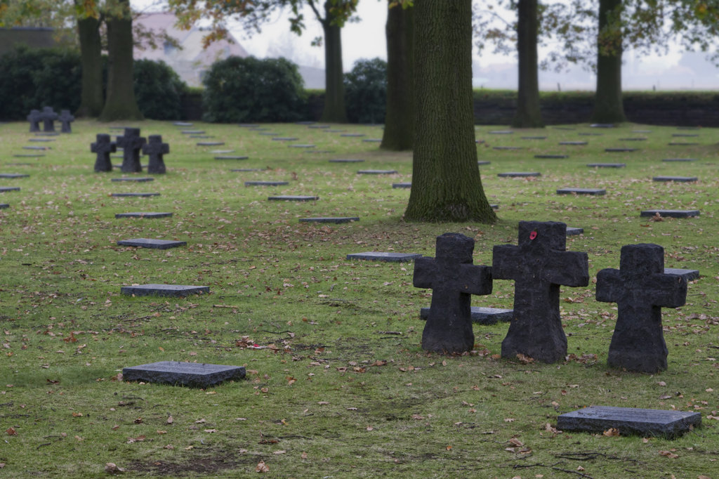 Stock Photo: 4116-762 Tombstones in a cemetery, German War Cemetery Of Langemark, Langemark, Langemark-Poelkapelle, West Flanders, Flemish Region, Belgium