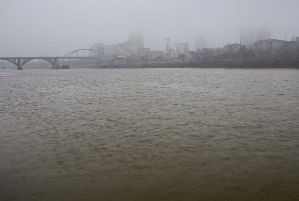 River with city in the background, Little Rock, Arkansas River, Arkansas, USA : Stock Photo