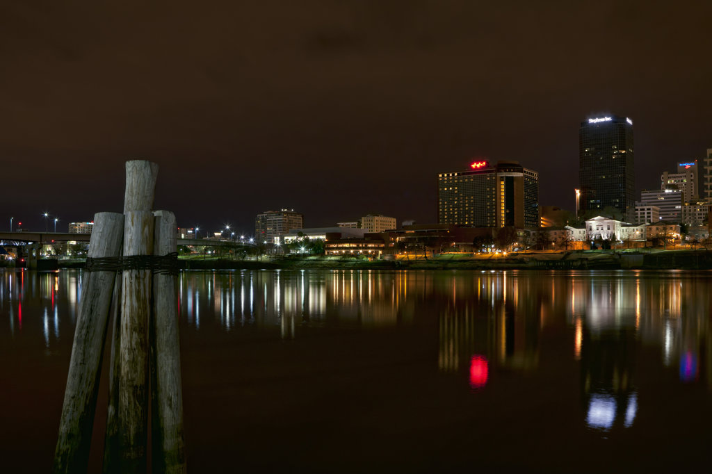 Reflection of building in water, North Little Rock, Arkansas River, Arkansas, USA : Stock Photo