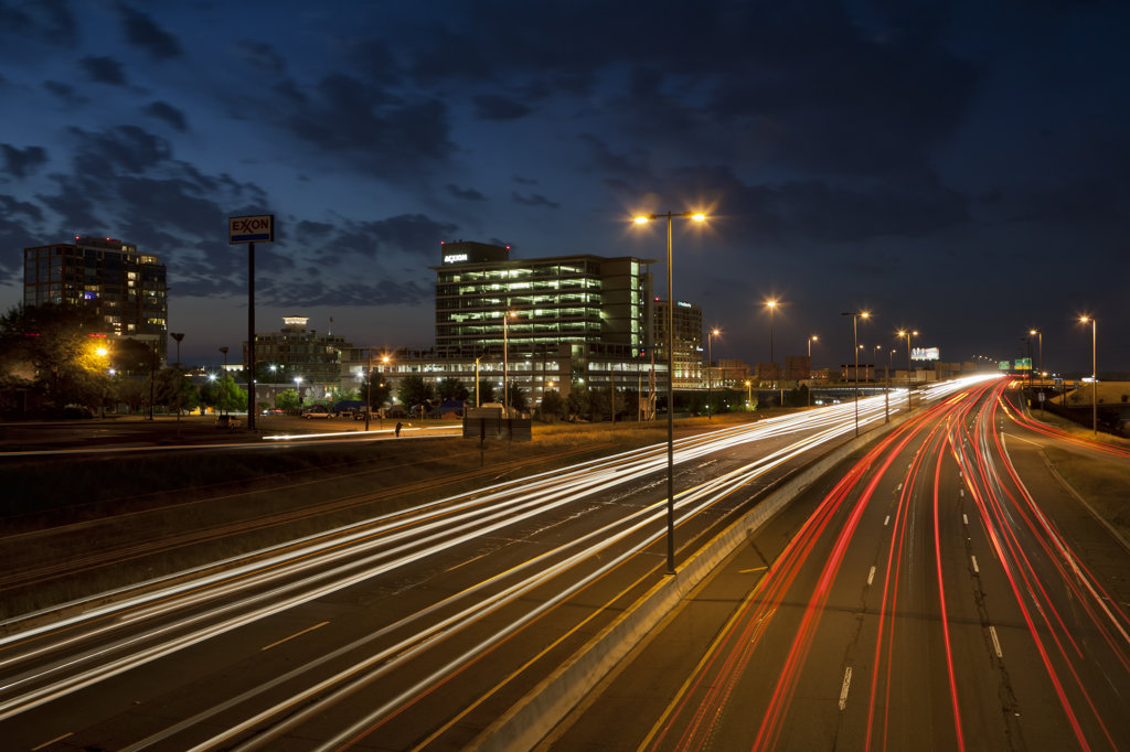 Streaks of traffic lights at night on Interstate 30, Little Rock, Pulaski County, Arkansas, USA : Stock Photo