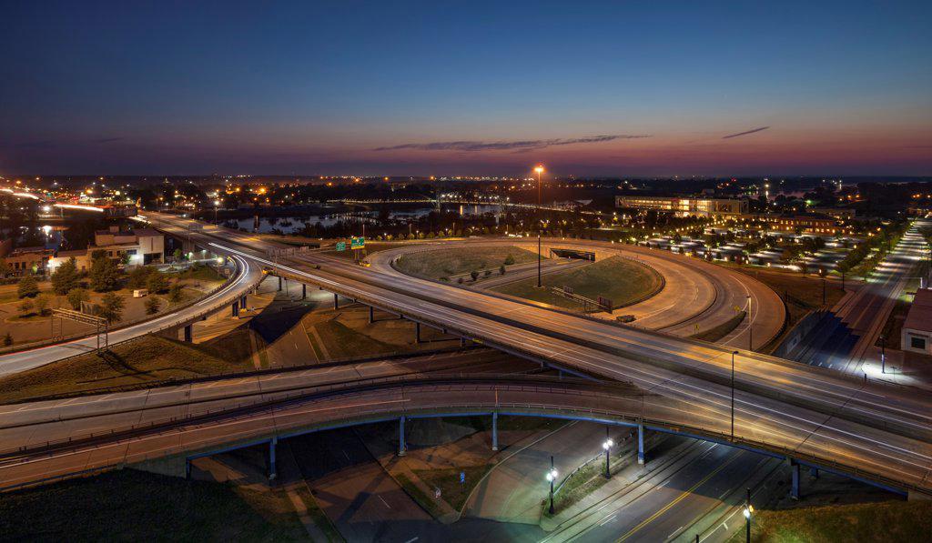 Stock Photo: 4116-994 USA, Arkansas, Little Rock, I-30 interchange in pre-dawn