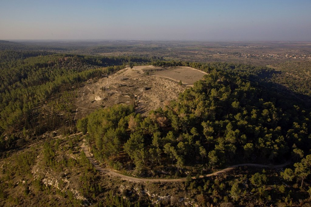 Stock Photo: 4119-10056 An aerial photo of Tel Azeka in the Ella Valley