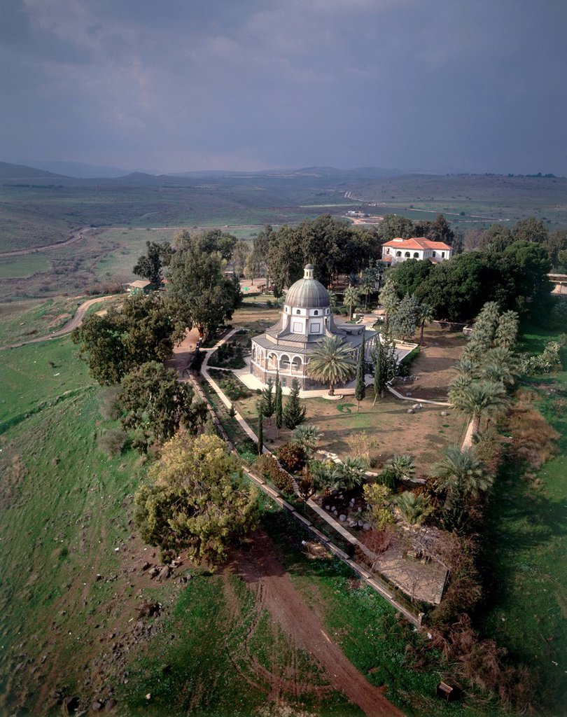 Aerial photograph of the church of the Beatitudes near the Sea of Galilee : Stock Photo