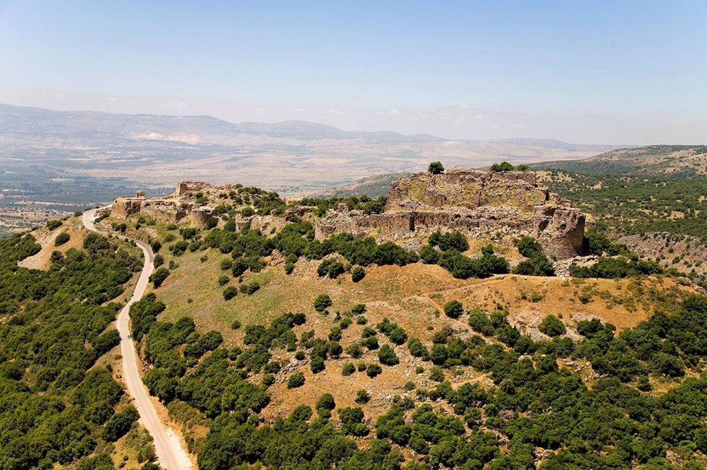Stock Photo: 4119-1210 Aerial photograph of the ruins of the fortress of Nimrod in the Northern Golan Heights