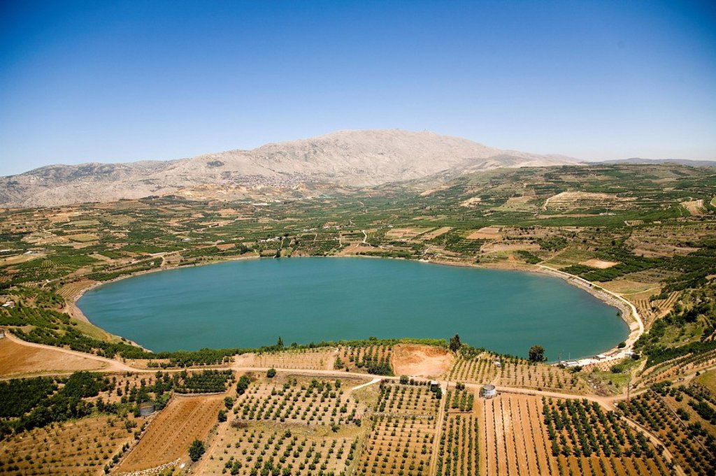 Aerial photograph of the Ram pool in the northern Golan Heights : Stock Photo
