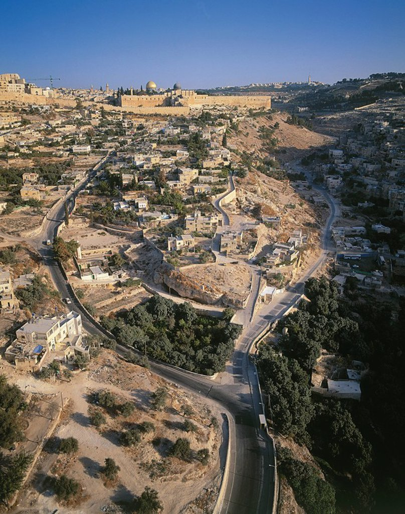 Stock Photo: 4119-1258 Aerial view of the city of David from the south with the Siloam pool in the foreground