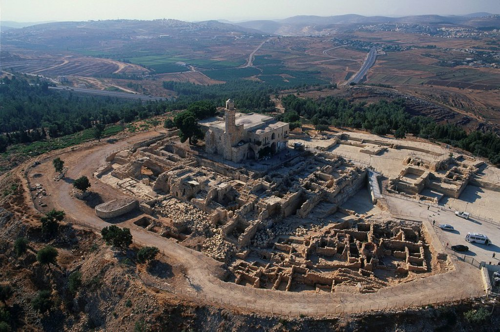 Stock Photo: 4119-1465 Aerial photograph of the mosque of Nabi Samwil at Judea