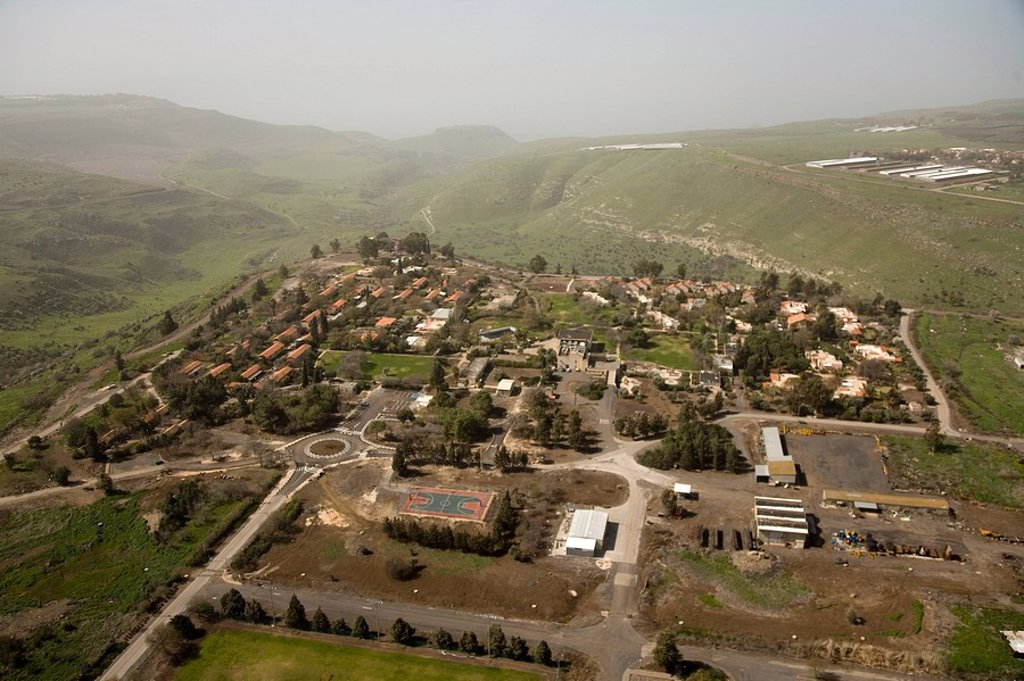 Aerial photograph of Kibutz Afik in the southern Golan Heights : Stock Photo