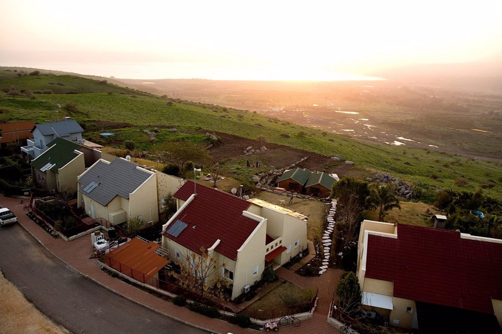 Aerial photograph of the village of Ma´ale Gamla in the southern Golan Heights : Stock Photo