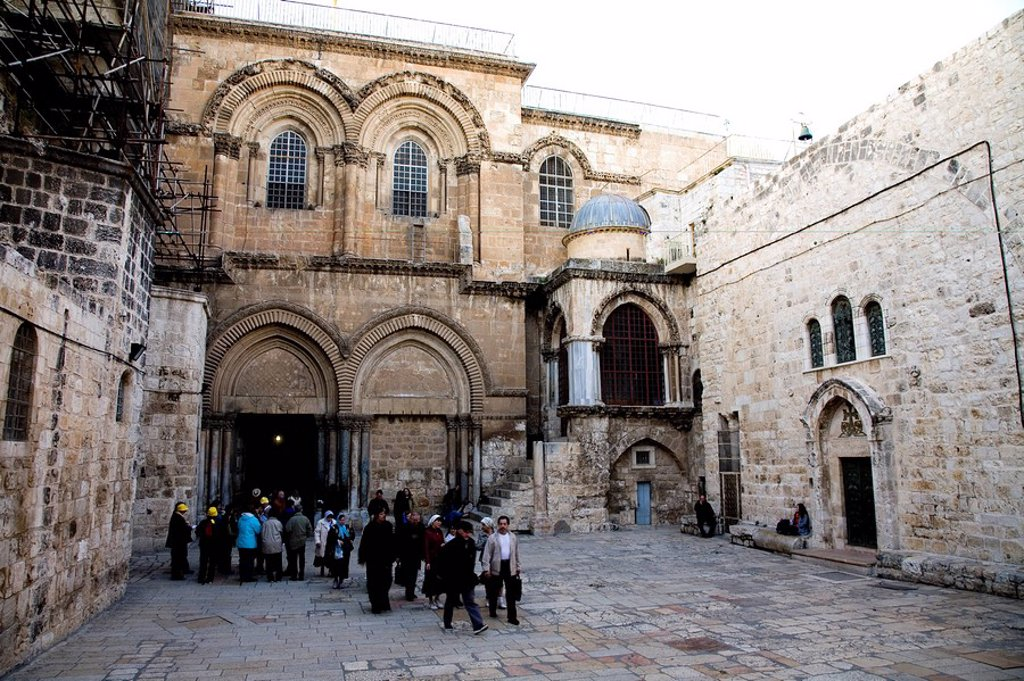 Stock Photo: 4119-2685 Photograph of the church of the Holy Sepulchre in the old city of Jerusalem