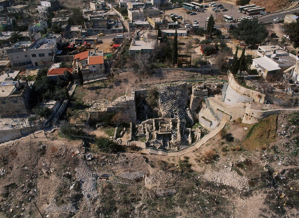 Aerial view of the biblical city of David in Jerusalem : Stock Photo