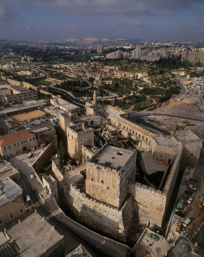 Aerial view of the city of David in Jerusalem : Stock Photo
