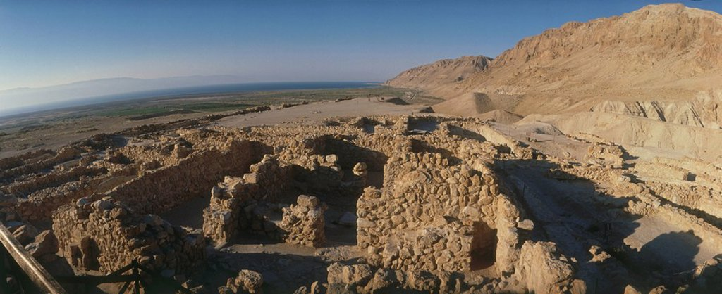 Aerial view of the ruins of the ancient city of Qumran : Stock Photo