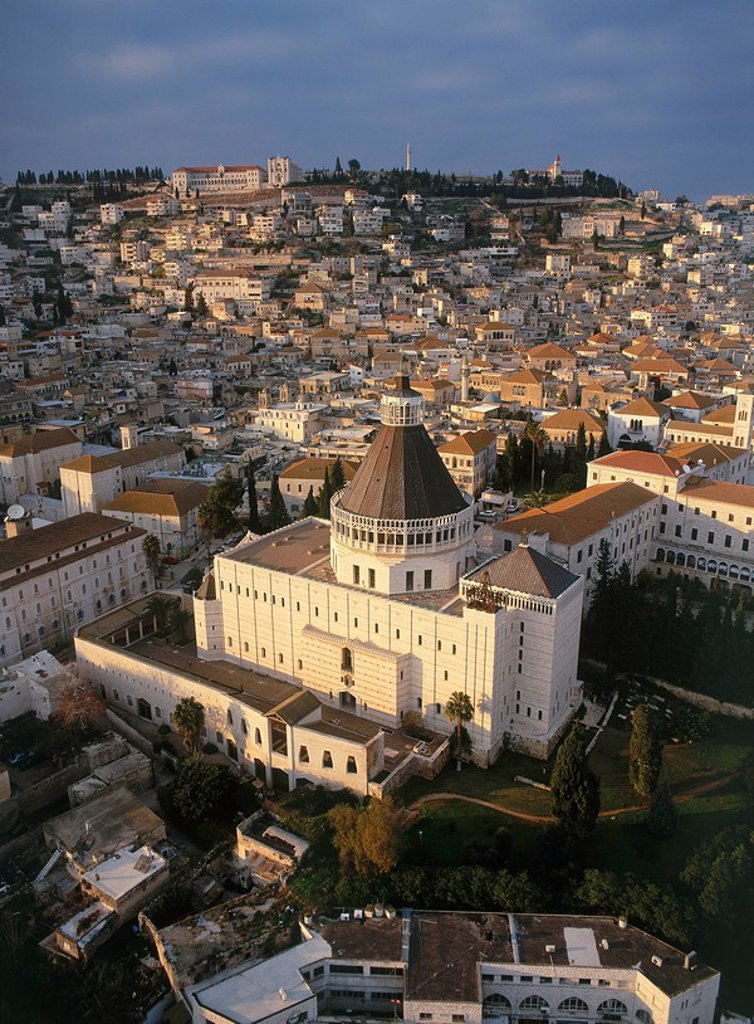 Stock Photo: 4119-3024 Aerial photograph of the church of Annunciation at Nazareth