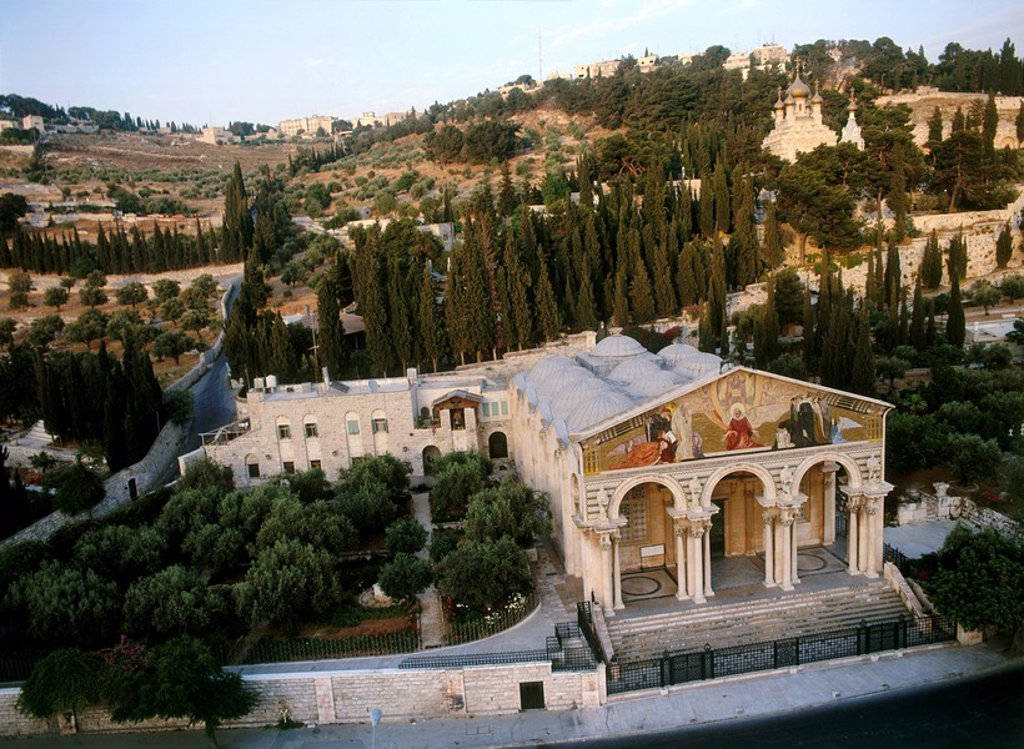 Stock Photo: 4119-3036 Aerial photograph of the church of Gethsamene at the mount of Olives