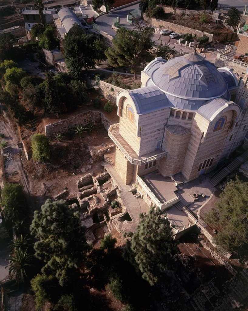 Aerial photograph of the Church of Eleona on the mount of Olives : Stock Photo