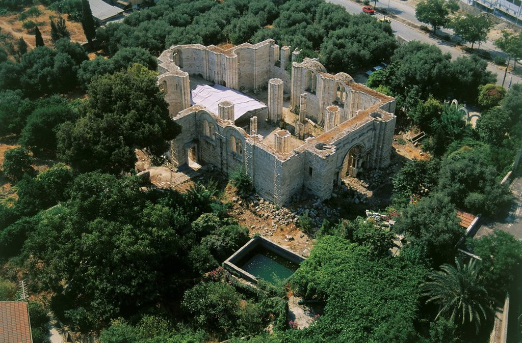 Stock Photo: 4119-3103 Aerial photograph of a ruined Church at the traditional location of Jacob´s Well