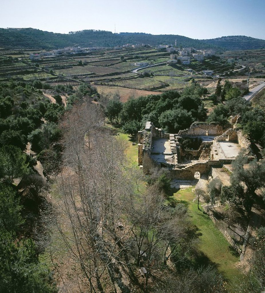 Stock Photo: 4119-3114 Aerial view of the ruins of the agricultural estate at En Hemed west of Jerusalem