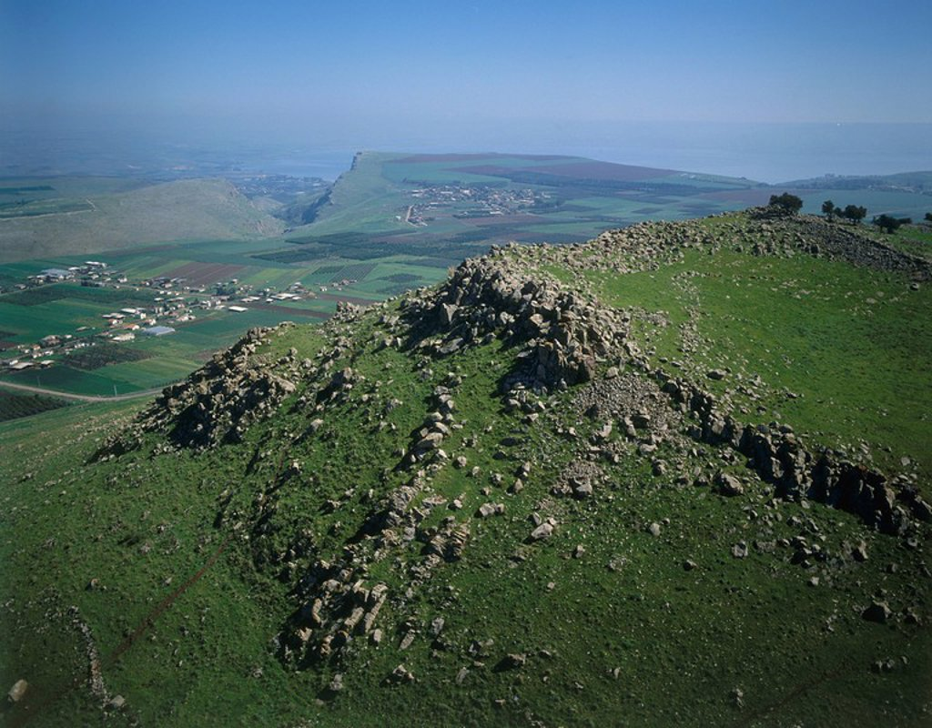 Aerial view of the battlefield at the Horn of Hattin in the Lower Galilee : Stock Photo