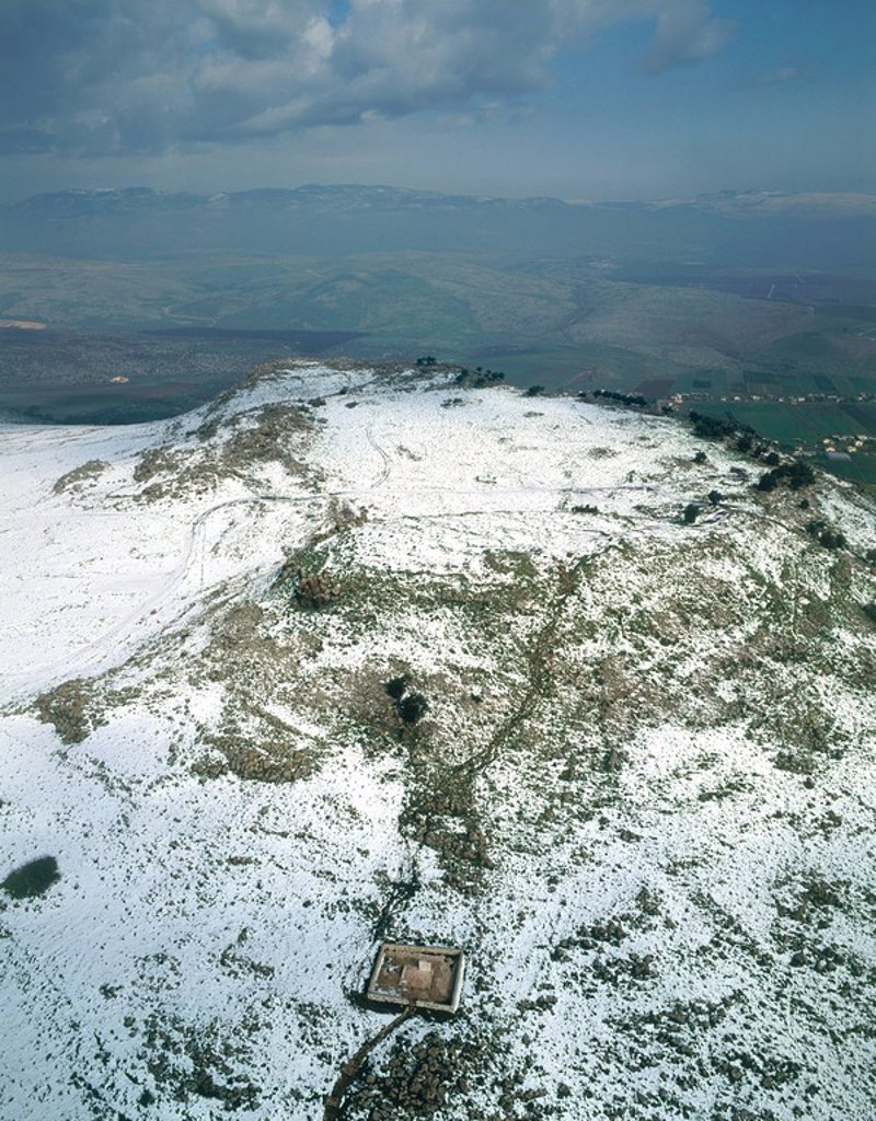 Aerial view of the battlefield at the Horn of Hattin in the Lower Galilee after a snow storm : Stock Photo