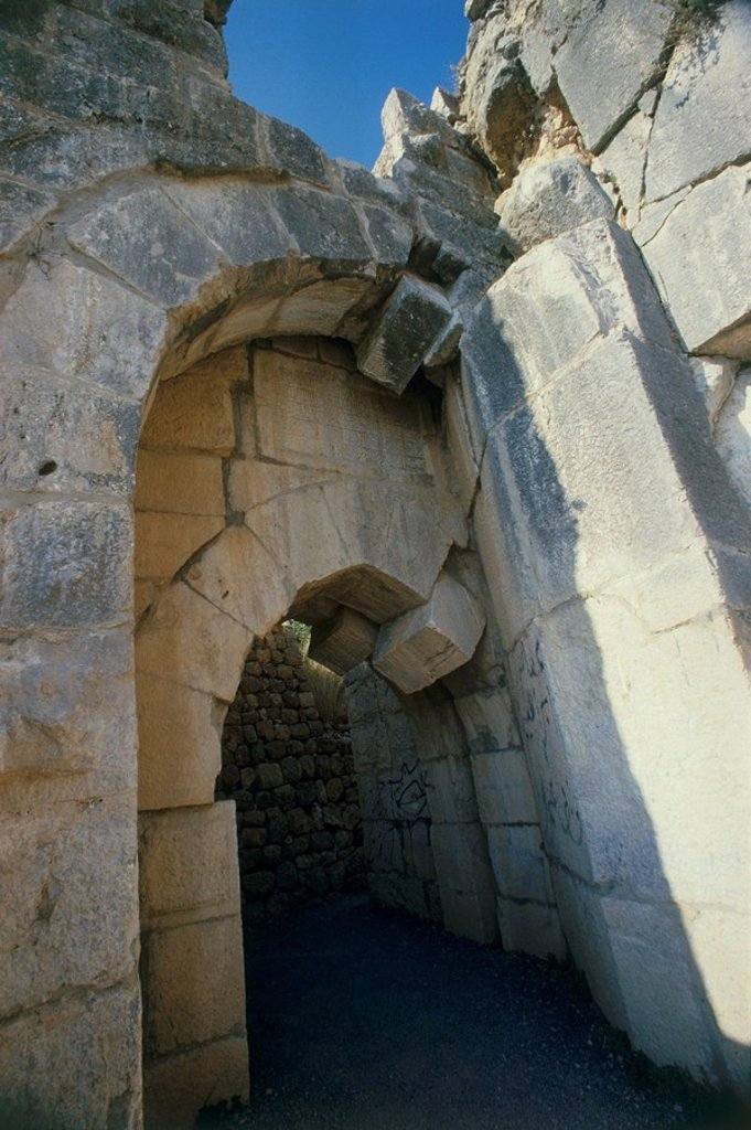 Photograph of the gate of the Nimrud fortress in the northern Golan Heights : Stock Photo