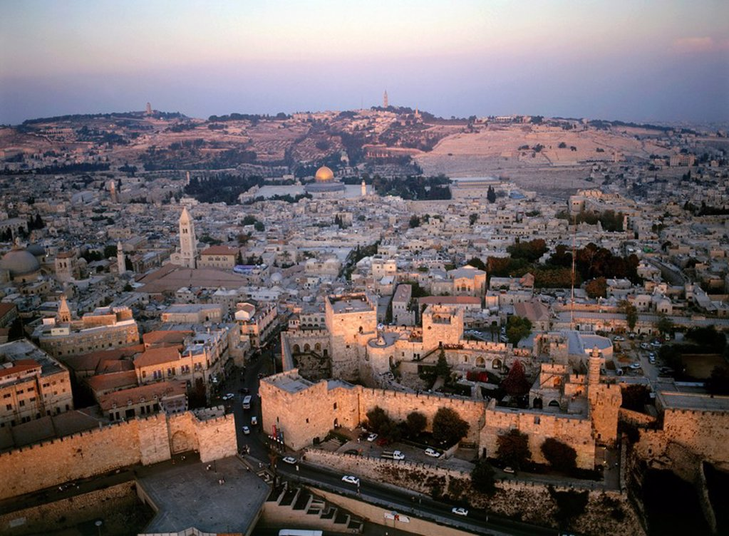 Stock Photo: 4119-3137 Aerial photograph of the old city of Jerusalem at sunset