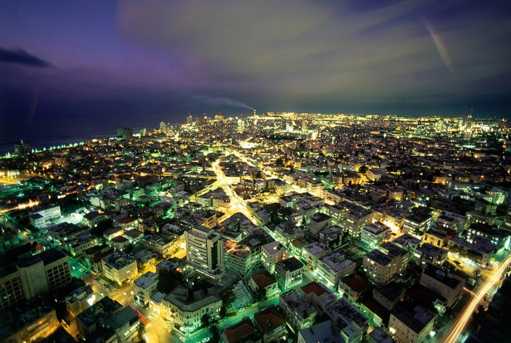 Stock Photo: 4119-3654 Aerial photograph of Tel Aviv´s skyline at night
