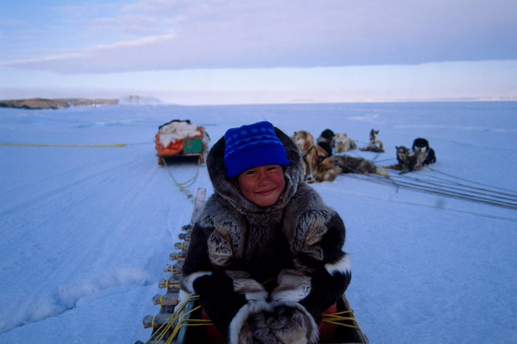 Photograph of a young Eskimo boy sitting in a sled in Baffin Canada : Stock Photo